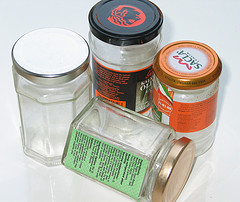food labeling on glass jars